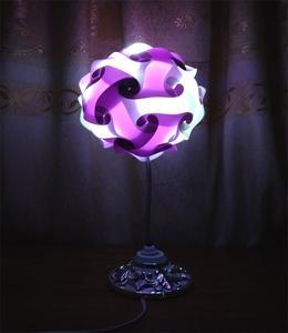 "Thai Round Table Lamp - 6.5 "" Purple"