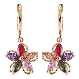 Gold Plated Colorful Zircon Crystal Flower Earrings Ear Studs For Women