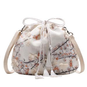 Fashion Ladies Antique Lace Drawstring Bucket Shoulder Bag Messenger Bag