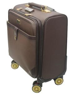 PU Leather 18 Inch 360 Degree Spinner Zipper Rolling Trolley Bag - Brown
