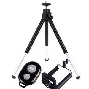 Mini Tripod with Mobile Phone Holder and Shutter - Black & White
