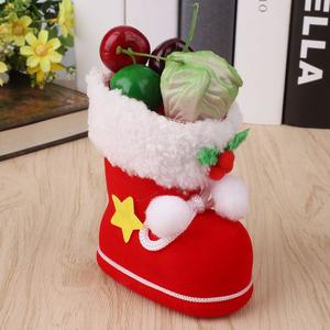 Small Size Candy Boots Bag Christmas Tree Decoration Ornament Red Stocking Gift