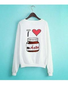 Nutella Printed White Sweatshirt for Women