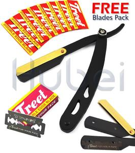 Black Cut-Out Design Gold-Latch Hair Shaving Razor Free Blades