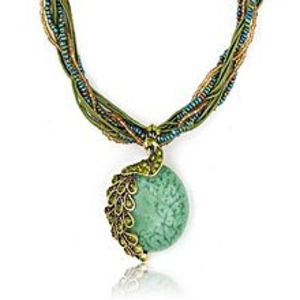 ATSBeads Pendant Necklace for Women -  Peacock Stone - Green