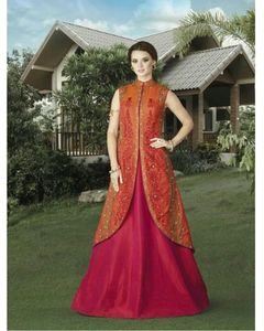 Swagat Orange & Pink Silk Party Wear Lehenga Style Suit With Embroidered Jacket - Voilet-4907