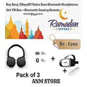 Sony(Pack of 3)Buy Sony MDR XB950BT Extra Bass Bluetooth Headphones && Get  VR Box Gear 3D Glasses plus Gaming Remote Free