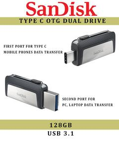 SanDisk Type C Ultra USB Dual Drive 3.1 - OTG - 128GB - 1 Year Warranty