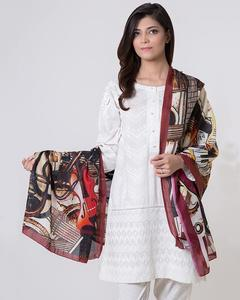 Maroon Polyester Scarf for Women
