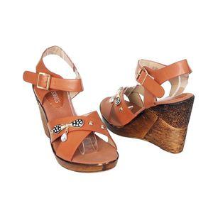 SNF Shoe Camel Leather Platforms For Women