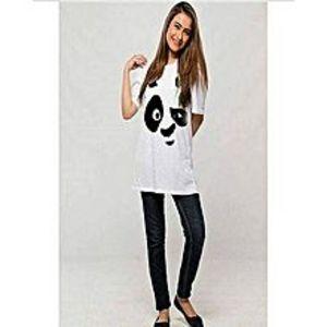 RX BAZARWhite Panda Printed T.shirt For Women