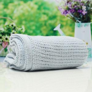 100% Cotton Baby Soft Cellular Blanket Moses Basket Crib Pram Cot Bed 100*75cm Blue