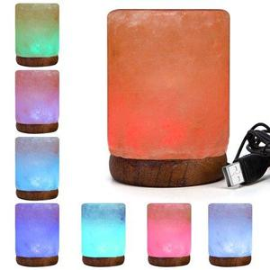 Color Changing Cylinder Shape Salt Lamp with USB cord