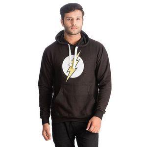 Black Flash Super Hero Printed Cotton & Wool Hoodie for Men