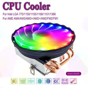 【Free Shipping + Flash Deal】CPU Cooler 4 Heatpipes 120mm 4Pin LED RGB Fan for LGA 1155/1151/1150/1366 AMD