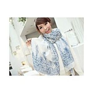 Chinese Dukaan White Floral Women Long Bohemian Printed Wrap Scarf for Girls