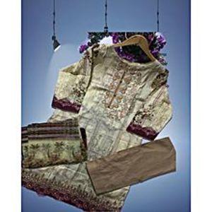 Cream Brown Floret Unstitched Suit For Women - 3 Pcs