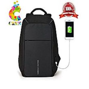 CINN Anti-theft and Laptop Bags Backpack Business with USB Charging Port Black (R K)