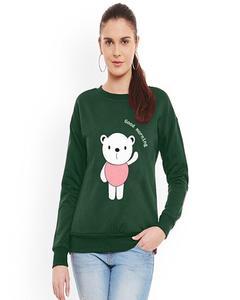 Army Green Good Morning Panda Printed Sweat Shirt For Women