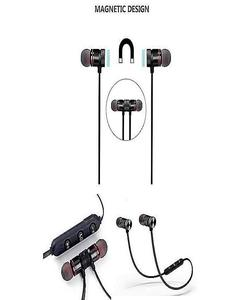Magnetic Wireless Bluetooth Headphones Sports Sound Stereo Penetrating Bass Earphones / Headphones / Handsfree Black