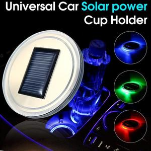 Universal Solar power Cup Holder Bottom Pad LED Light Cover Trim Atmosphere Lamp Light Blue