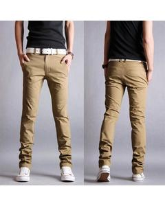 Brown Cotton Chino Pants For Men