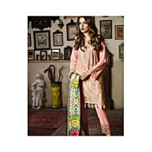 Nimsay Pink Embroidered Lawn Unstitched Suit For Women - 3 Pcs