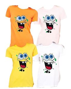 Royal Collection Pakistan Pack of 4 - Multicolour Cotton Spongebob T-Shirts for Women - RCPA-4WCTS-SpBob