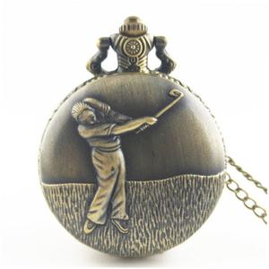 TE Playing Golf Vintage Antique Quartz Pocket Watch Necklace Pendant Clock
