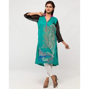 Aeys Sea Green Boski Embroidered Kurta For Women