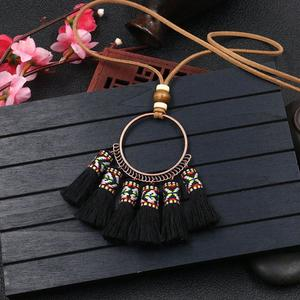 Fringed Woven Pendant Necklace Female Circular Retro Long Sweater Chain