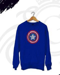 Blue Fleece Cotton Printed Sweatshirt for Men