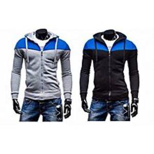 ZewraatPack Of 2 Contrast Grey & Blue Hoodies For Men - Grey, Black - L
