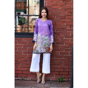So Kamal Winter Collection  Purple Linen Embroidered 1PC -Unstitched Shirt DPW18 694 EF01259-STD-PUR