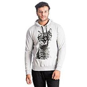 Al BuraqHeather Grey Geek Cat Printed Cotton & Wool Hoodie for Men
