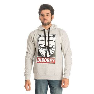 Heather Grey Cotton & Wool Disobey Printed Hoodie for Men
