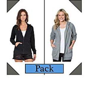 DUA's FashionPack of 2 Zipper Hoodies for Women -Black & Grey