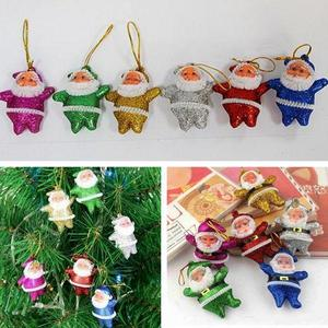 (PACK OF 12 PCS ) 6 pcs Colourful and 6 pcs red Christmas mini Santa Claus Party Ornaments Xmas Tree Hanging (Colorfu and red )