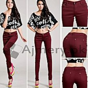 The Ajmery Women's Maroon Skinny Jeans. BB-00023