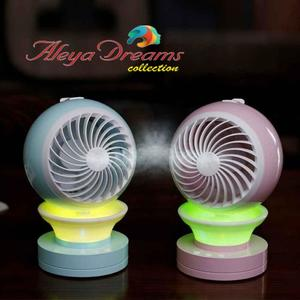 3 in 1  Fan USB Charging Cute Shape LED Multi Light Misting Spray Humidifier Cooling Fan Air Cooler by Aleya Dreams Collections - Original