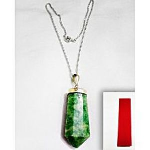 CrystalsGreen Natural Stone & Silver Necklace For Women
