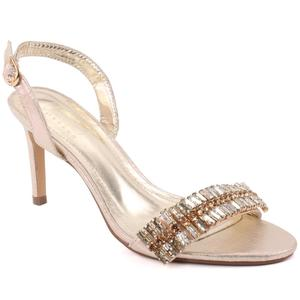 """Women """"Goldie"""" Stone Accented Buckle Closure Stiletto Heel Sling Back Sandals  L31396"""