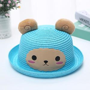 MissFortune Kids Baby Hat Cap Children Breathable Cartoon Hat Ears Straw Sun Protection Hats
