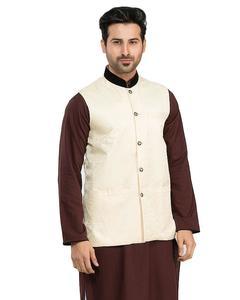 Bottom Off White Jamawar Waistcoat for Men