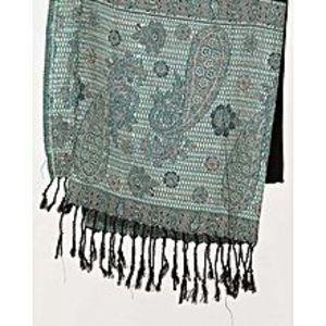 Misbah's StyleBlack & Sea Green Border Pashmina Shawl