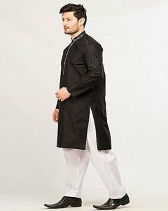 Black Regular Fit Kurta With White Shalwar For Men