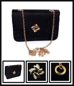 Women's Handbag Accessories Black PU Sling Bag With Chain