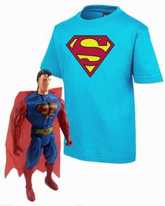 Blue  Superman T-Shirt   with Superman Action Figure  Combo 1