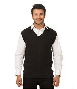 Black Solid Cotton Rib Sweater For Men