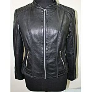 IGNISBlack Leather Jacket for Women